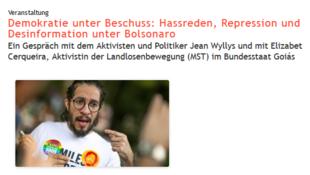 Anúncio da conferência de Jean Wyllys no site do Centro de Pesquisa e Documentação Chile-América Latina (FDCL), de Berlim, uma das organizações mais antigas do movimento de solidariedade aos latino-americanos.
