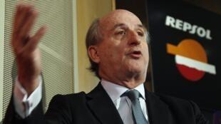 Antônio Brufau, presidente da Repsol, durante coletiva de imprensa em Madri desta terça-feira.