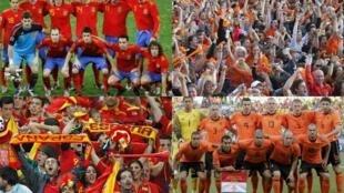 As equipes espanhola e holandesa, e torcidas respectivas, preparam-se para a final da copa, domingo 11 de julho.
