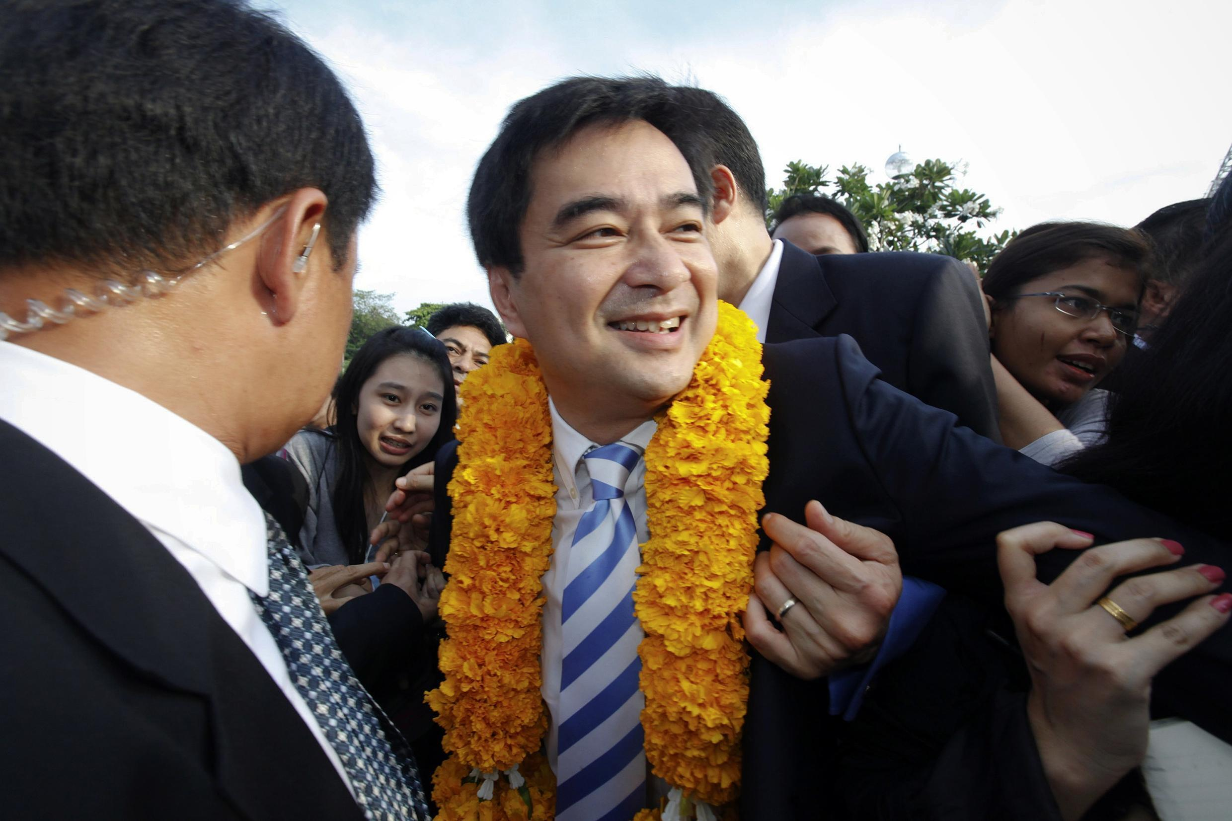 Thai Prime Minister Abhisit Vejjajiva ahead of elections in July