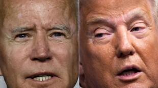 Esta combinación de fotos creada el 28 de septiembre de 2020 muestra al exvicepresidente Joe Biden y al presidente Donald Trump