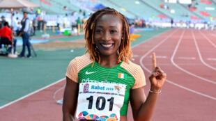 Marie-Josée Ta Lou a remporté l'or sur le 100m aux Jeux africains à Rabat, le 27 août 2019.