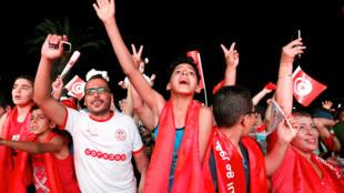 Les supporters tunisiens en Tunisie lors de la rencontre Panama-Tunisie, le 28 juin 2018.