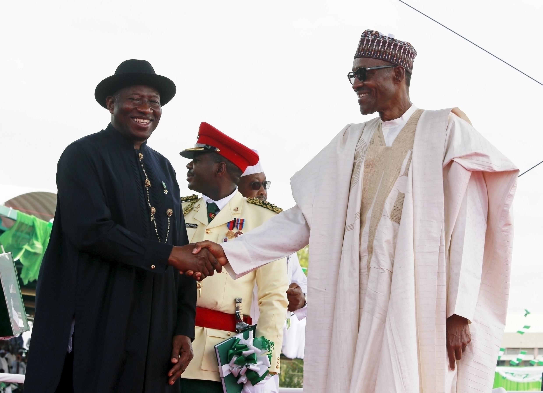 Tsohon shugaban Najeriya Goodluck Jonathan bayan mika mulki ga shugaba Muhammadu Buhari, ranar 29 ga watan Mayu na shekarar 2015.