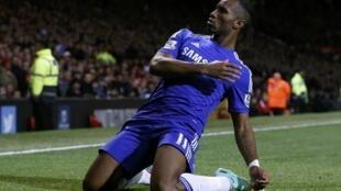 Didier Drogba sous le maillot de Chelsea.