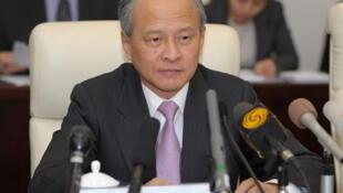 中国外交部副部长崔天凯2012年2月9日就习近平副主席访美举行中外媒体吹风会。