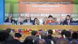 Abertura da Segunda Conferência Internacional sobre Nutrição, na sede da FAO, em Roma, nesta quarta-feira (19).