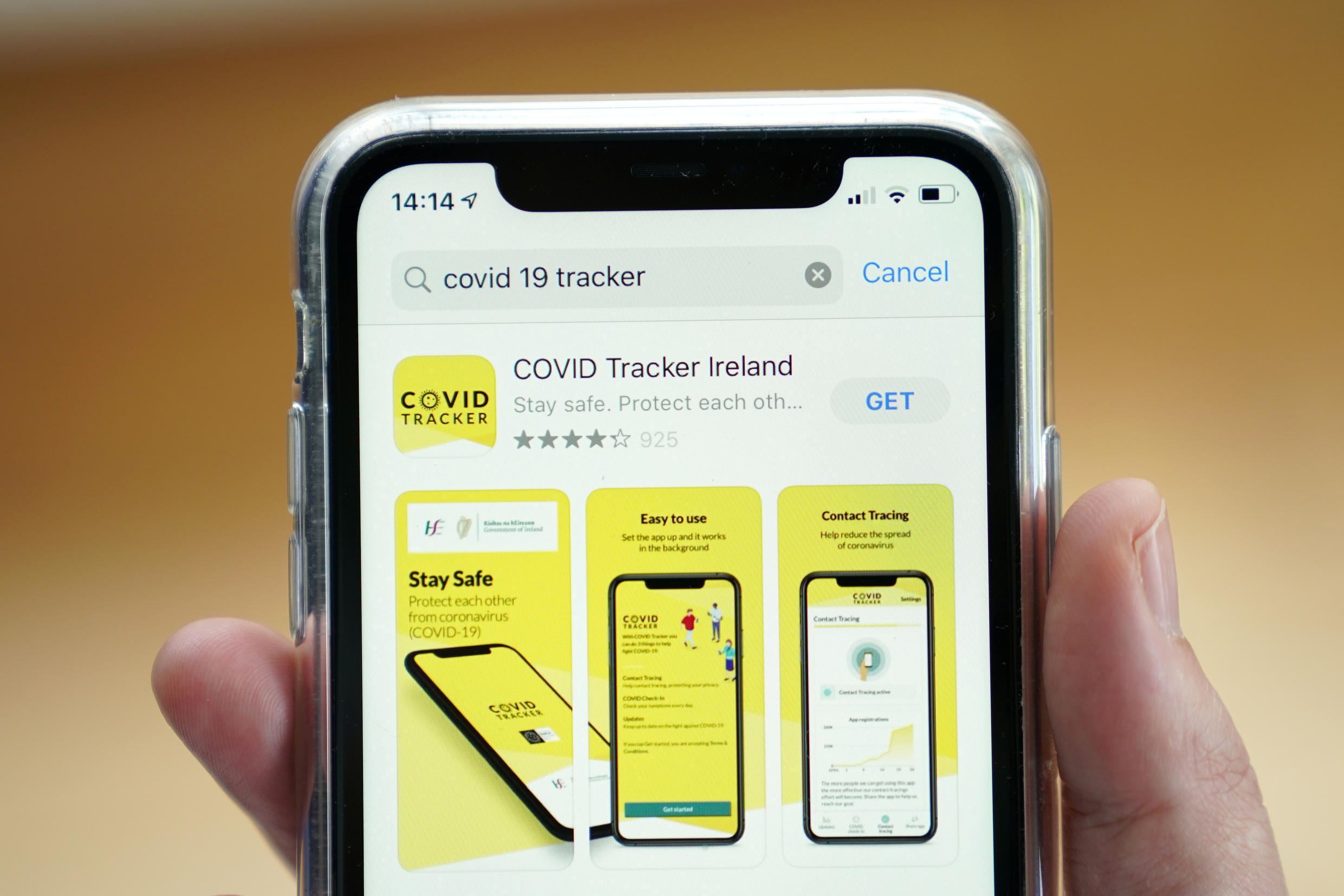 The COVID Tracker Ireland app used for contact tracing the spread of coronavirus disease (COVID-19) is displayed on a mobile phone, as it is held up for an illustration photograph in Galway, Ireland, July 30, 2020.