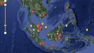 Bản đồ ghi nhận nạn cướp biển trong năm 2010 tại vùng Biển Đông cập nhật ngày 16/06/2010. Điểm đỏ : các vụ đã xẩy ra - Điểm vàng : âm mưu bị phá vỡ