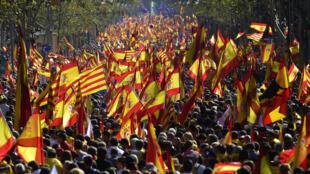 加泰反對獨立派民眾大遊行2017年10月29日巴塞羅那