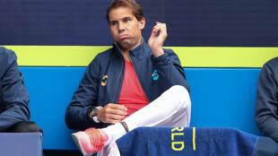 Rafael Nadal, forfait, assiste au match opposant son ami Pablo Carreño Busta contre l'Australien John Millman à Melbourne, le  février 2021