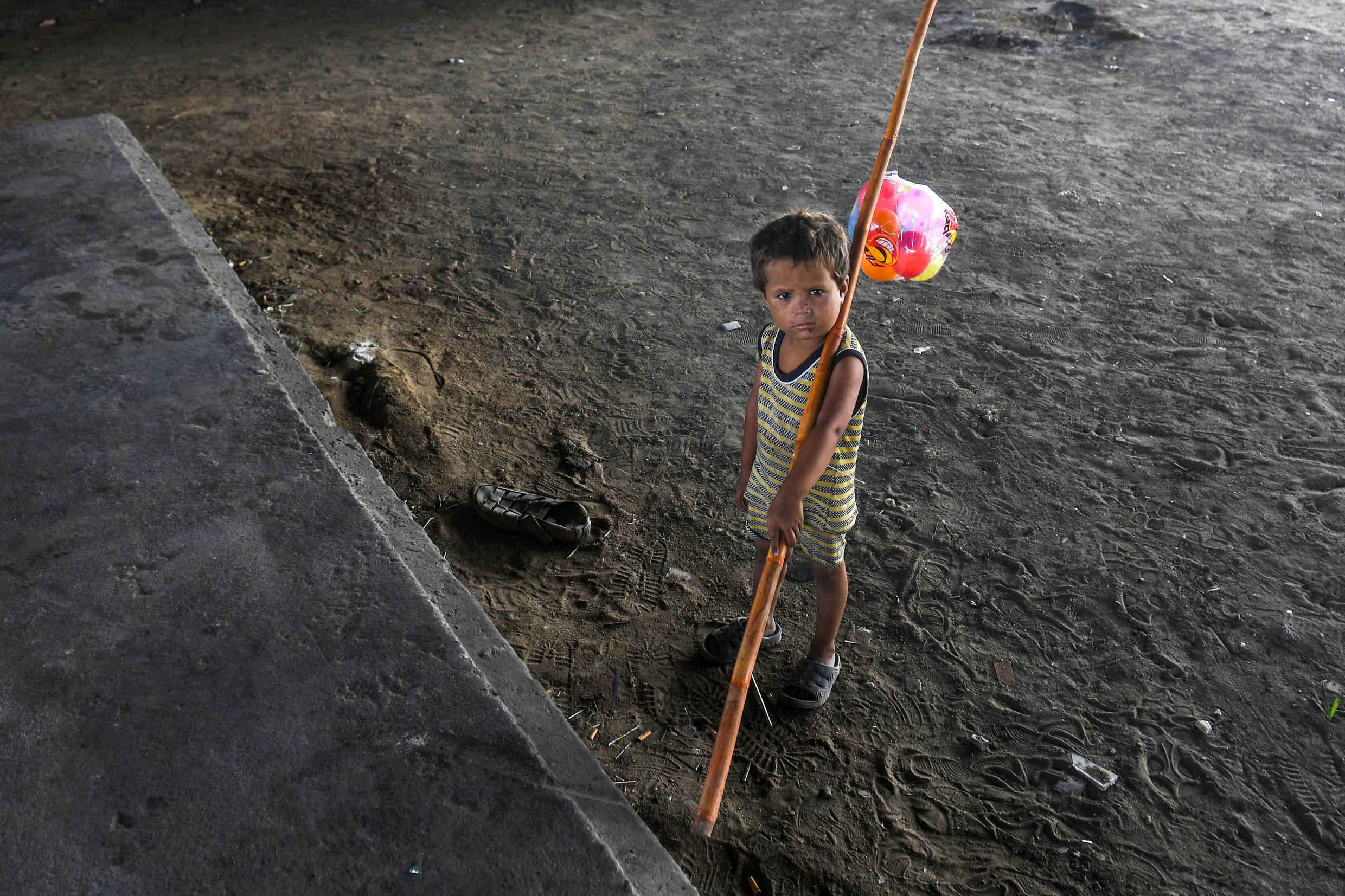 A child in Karachi, Pakistan. The majority of children at risk of poverty live in South Asia and sub-Saharan Africa.