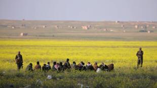 Des combattants des Forces démocratiques syriennes surveillent un groupe d'hommes près de Baghouz, le 6 mars 2019.