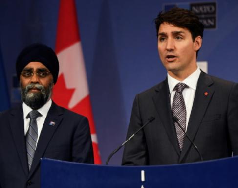 加拿大總理特魯多與國防部長薩詹資料圖片