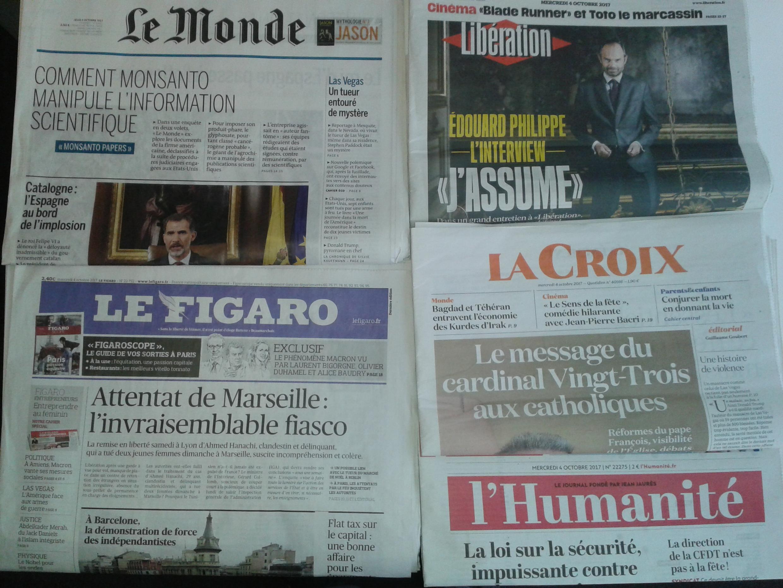Imprensa francesa do dia 4 de Outubro de 2017