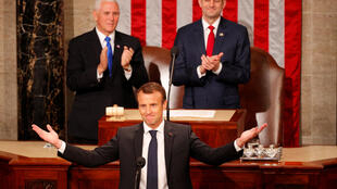 French President Emmanuel Macron arrives to address a joint meeting of Congress in Washington