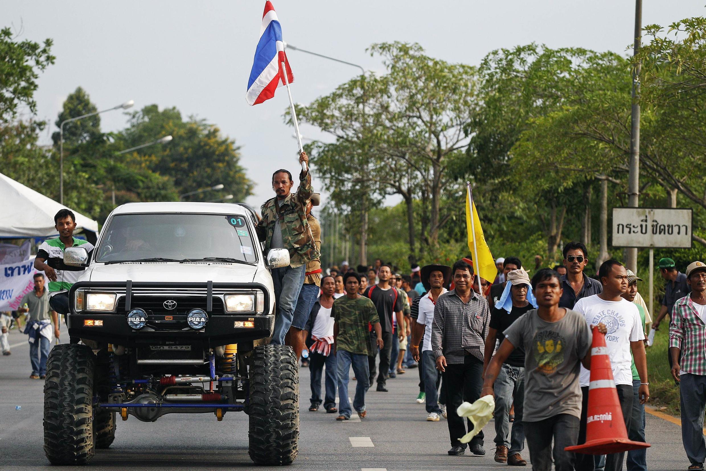 Nông dân trồng cao su biểu tình ở Surat Thani, miền nam Thái Lan, ngày 03/09/2013, đòi chính phủ trợ giúp