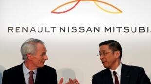 Le numéro un du groupe Renault, Jean-Dominique Senard, et son homologue à Nissan, Hiroto Saikawa, en mars dernier à Yokohama, au Japon.