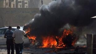 Bagdad, 20 juin 2011. Un attentat a visé un convoi de l'ambassade de France.