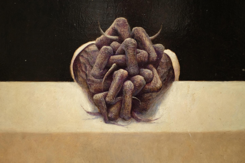 Vue d'une œuvre (détail) de Zdzislaw Beksinski, « sans titre », 1970, huile sur isorel, 70 x 61 cm. Exposée à la galerie Roi Doré, Paris.