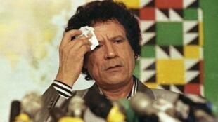 Foto de arquivo do ditador Muammar Kadafi em Trípoli, 20 de agosto de 1990.