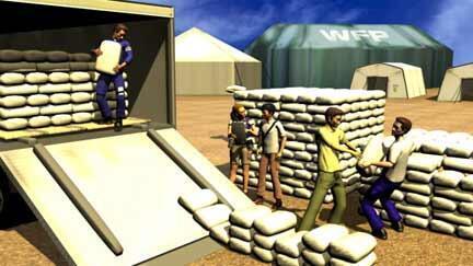 Mission humanitaire dans le jeu Food Force créé par le  PAM (Programme alimentaire mondial).