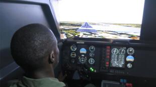 Passage au simulateur de vol.