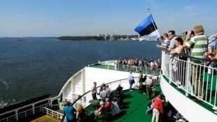 Un ferry arrivant de Tallin dans le port d'Helsinki.
