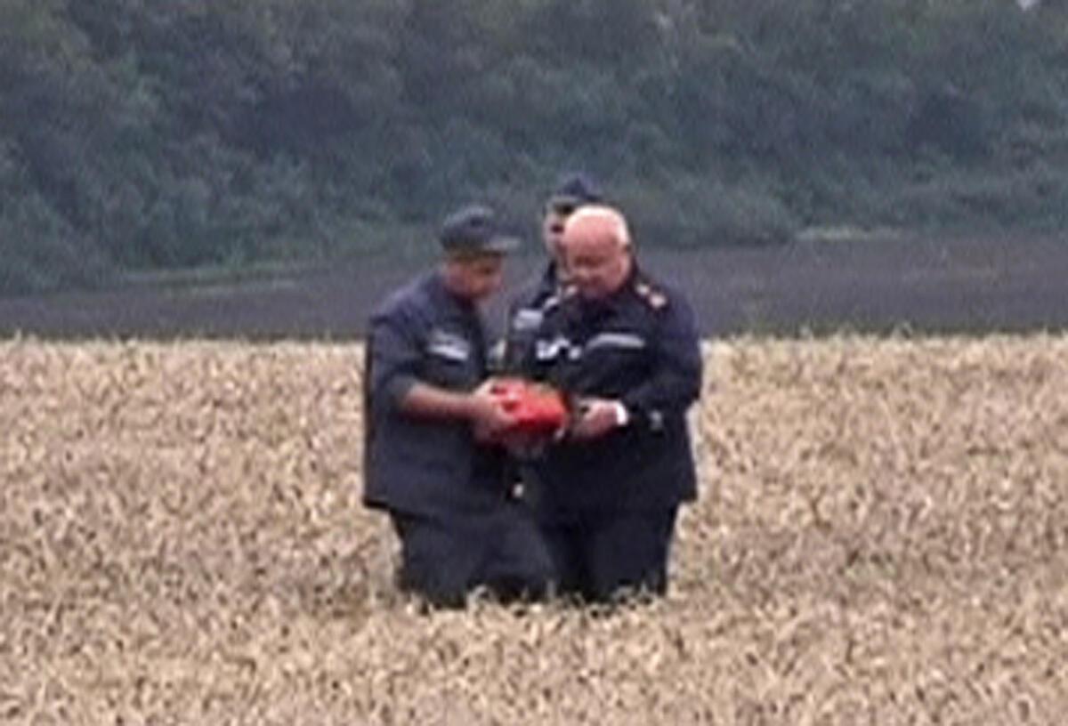 Reprodução de vídeo mostra elemento que poderia ser uma das caixas-pretas do voo MH17 da Malaysia Airlines.