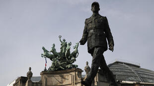 The statue of General Charles de Gaulle is pictured before VE Day ceremonies Friday May 8, 2020 in Paris.