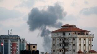 以军继续对加沙进行轰炸。2018-07-20