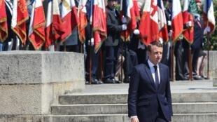 Shugaban Faransa Emmanuel Macron a wani hoto da aka dauka yau Asabar
