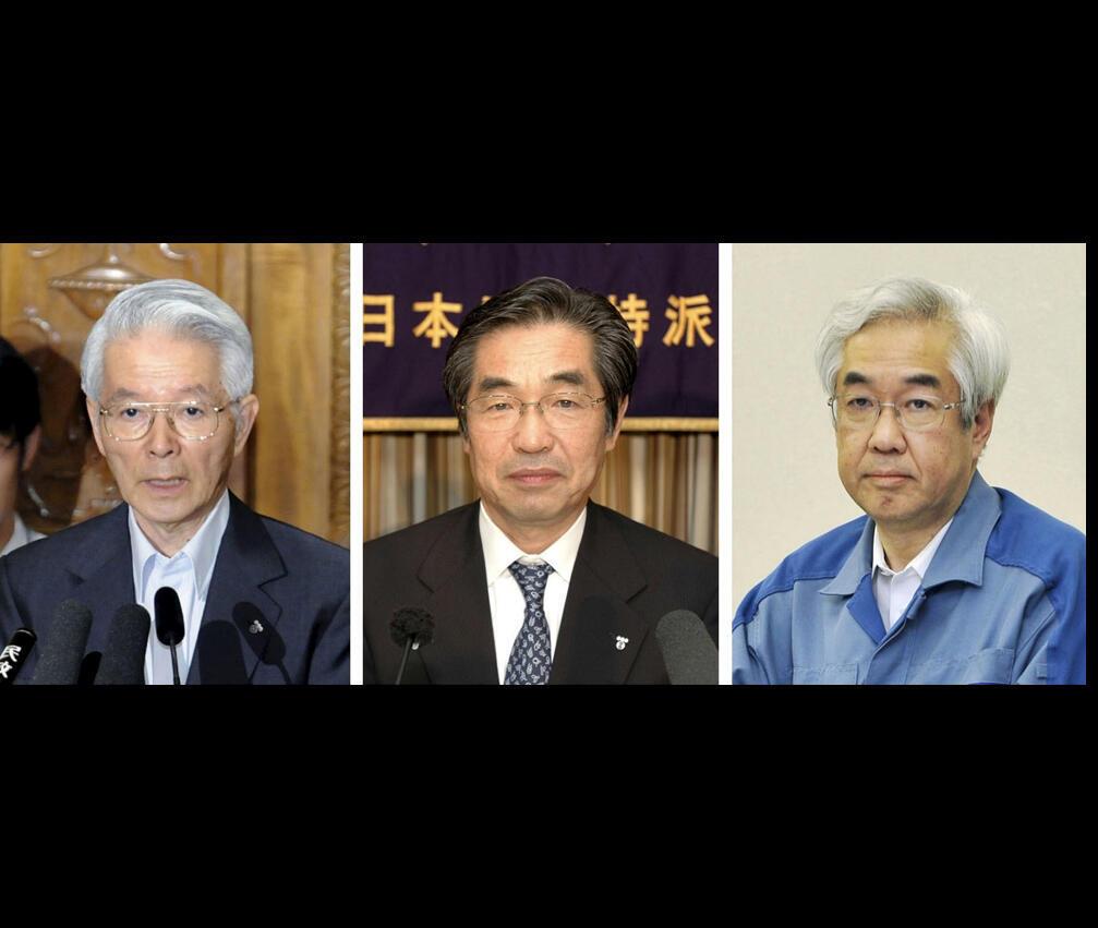 Foto montagem do ex-presidente de TEPCO, Tsunehisa Katsumata (esq.) e de 2 ex-vices presidentes: Ichiro Takekuro (Centro) e Sakae Muto.