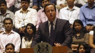 Le Premier ministre britannique, David Cameron, lors d'un discours donné sur le campus d'Infosys, à Bangalore (sud de l'Inde), le 28 juillet 2010.