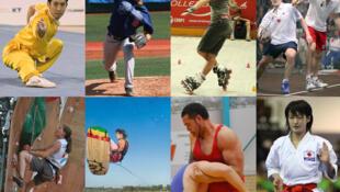 Huit sports en lice pour les JO 2020. De gauche à droite : wushu, baseball/softball, sports de roller, squash (première ligne), escalade, wakeboard, lutte, karaté (deuxième ligne).