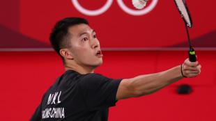 香港羽毛球选手伍家朗参加东京奥运会比赛资料图片