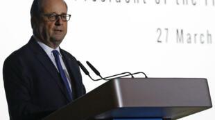 Rais wa Ufaransa Francois Hollande akizungumza kwenye mkutano nchini Singapore. Machi 27, 2017