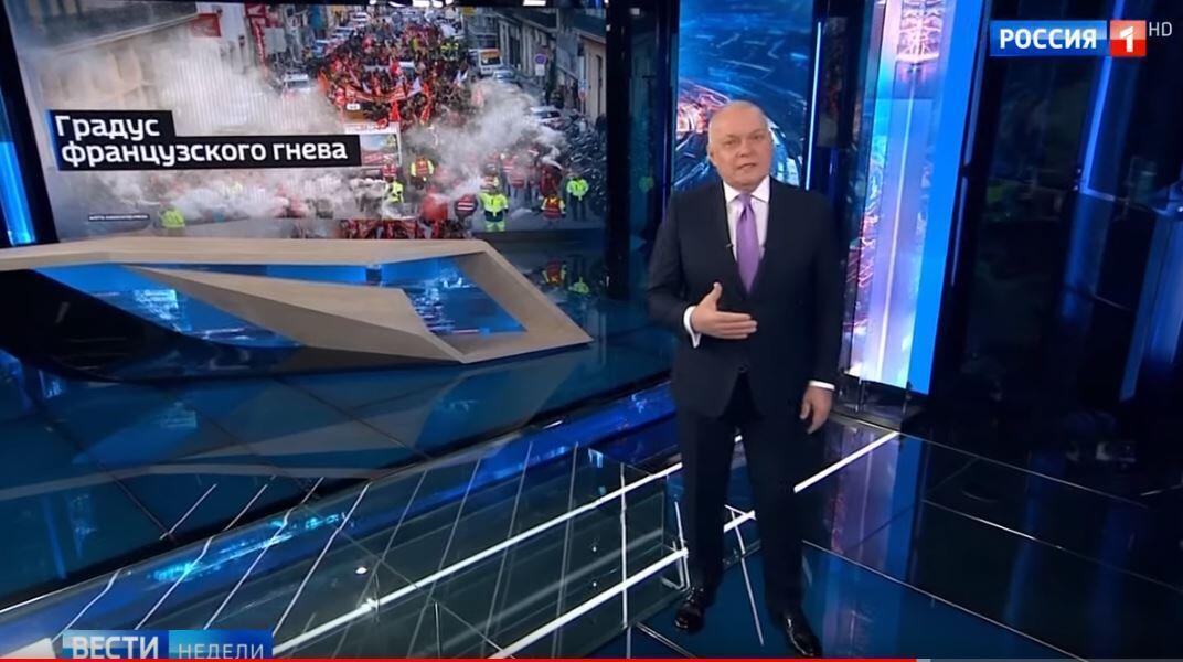 Кадр из программы «Вести недели»  с Дмитрием Киселевым