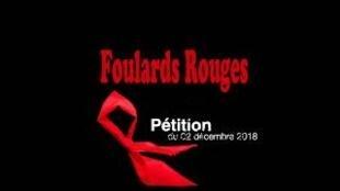 圖為法國紅圍巾示威抗議暴力網絡聯絡標識