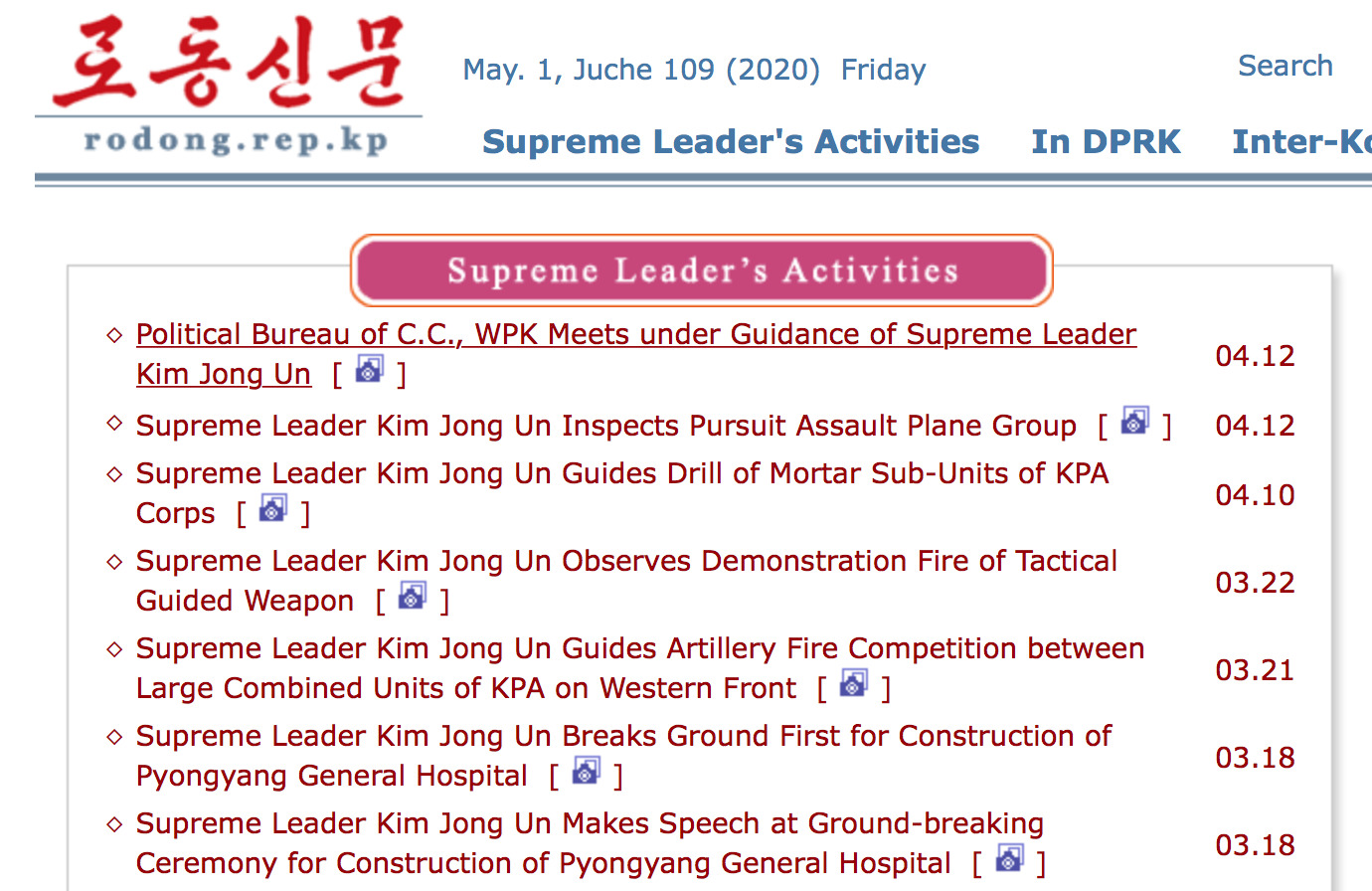 """Supreme Leader's Activities"" section of the state-run Rodong Sinmun (Labour News) of 1 May 2020 does not list any appearances of Kim Jong-Un after April 12."