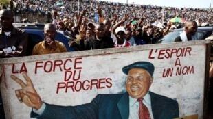 Les partisans d'Etienne Tshisekedi  lors d'un meeting de soutien au stade de Kinshasa, le 24 avril 2011.