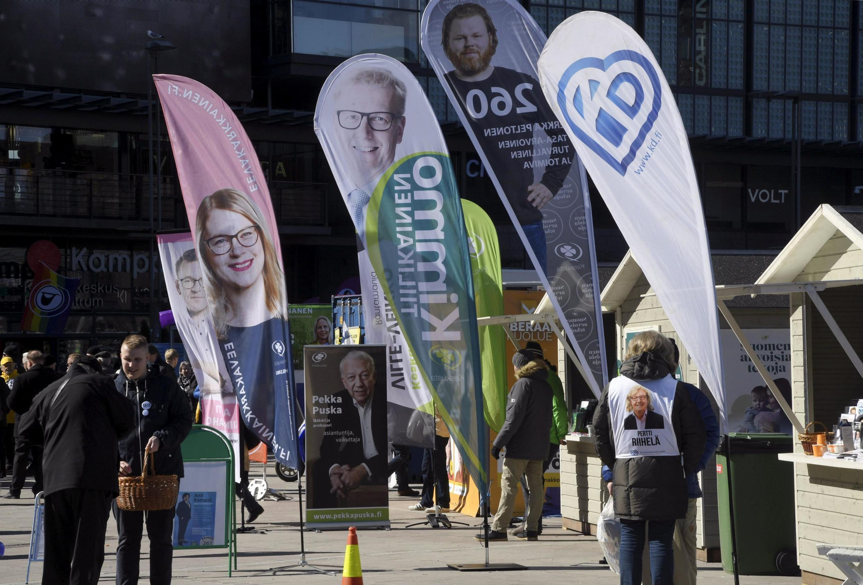 Campanha em Helsínquia das eleições legislativas este domingo na Finlândia