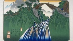 日本浮世繪« 木曾海道(Kisokaido)»中第41幅,溪齋英泉作品。