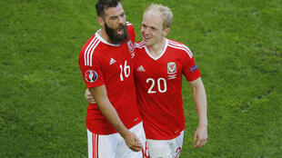 Joe Ledley (left) and Jonathan Williams praised the Welsh fans for their support during the match against Slovakia.