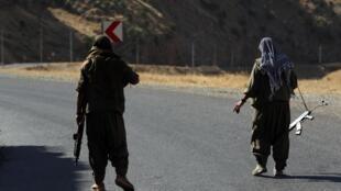 Des combattants du PKK sur une route dans les montagnes Qandil dans le Kurdistan irakien le 22 juin 2018 (image d'illustration).