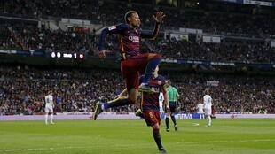 Neymar celebrates after scoring the second goal for Barcelona on Saturday