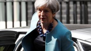 La Première ministre britannique Theresa May, le 14 juin 2017 au 10 Downing Street, à Londres.