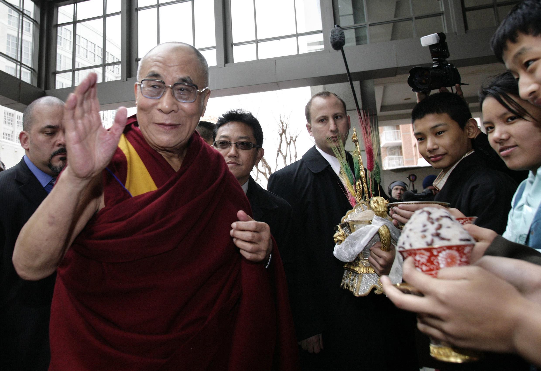 The Dalai Lama arrives t his hotel in Washington