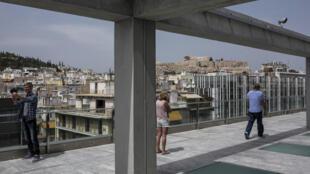 Sur le toit du Musée national d'art contemporain d'Athènes, le 30 avril 2017.