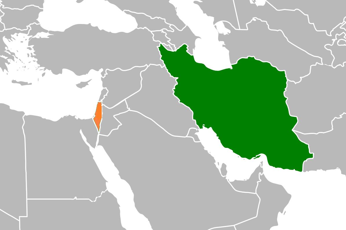 Iran (hình xanh bên phải) và Israel trên bản đồ Trung Cận Đông.